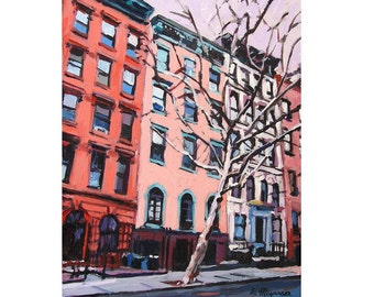 NYC Buildings Painting New York Art Red Cityscape NYC Fine Art Print 8x10, City Cityscape pink peach Painting by Gwen Meyerson