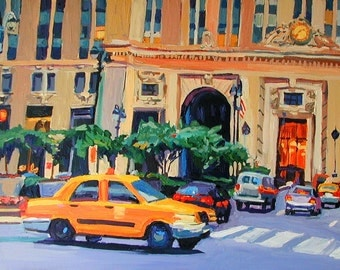 Grand Central Station New York Art Wall Decor Art Print 8x10,  New York City Taxi Painting by Gwen Meyerson