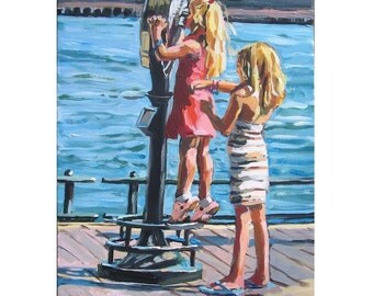 Children Art little blond girls sisters. Sightseers. tourists South Street Seaport Kids Room. 8x10, Figurative  Painting by Gwen Meyerson