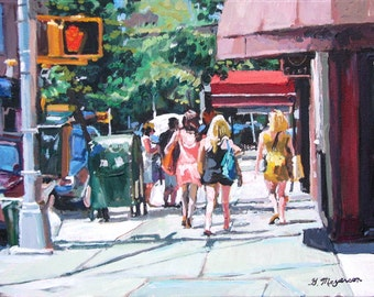 New York City Painting, Girls On Bleecker Street, NYC Art New Yorkers Colorful Figurative Urban Fine Art 8x10 inch Print Gwen Meyerson