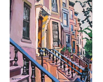 "Row Houses Brooklyn Fine Art Print Square 8x8, ""Brownstone Row in Brooklyn"" New York City peach pink Cityscape Painting by Gwen Meyerson"