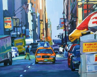 "New York taxi Art NYC Painting NYC Art Print 8x10, ""Cab View"" New York City Painting, blue cityscape, street scene by Gwen Meyerson"