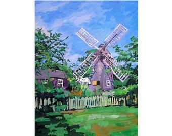 Windmill Landscape painting East Hampton Hamptons Long Island Dutch Windmill Fine Art Print 8x10  by Gwen Meyerson