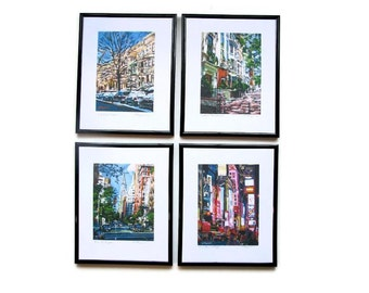 New York City Framed Set of 4 5x7 Cityscape Archival Prints, Ready to Hang, four 8x10 frames, New York City Paintings by Gwen Meyerson