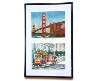 "San Francisco Art Framed Set of Two, 6""x8"" Cityscape Archival Prints, Ready to Hang, San Francisco Paintings by Gwen Meyerson"