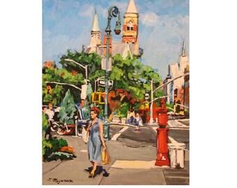 New York Art Lower Manhattan, Spring NYC, Summer NYC, Urban  Fine Art Print  8x10, New York City Cityscape Painting by Gwen Meyerson