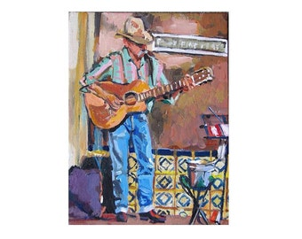 "Cowboy with Guitar Art Print 8x10, ""Singing Cowboy"" Southwestern Country music Painting by Gwen Meyerson"