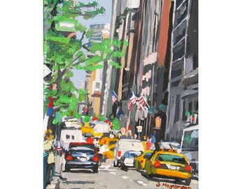 New York City Art Manhattan buildings NYC Art Wall Decor Spring in New York City Midtown, Fine Art Print 8x10,  Painting by Gwen Meyerson