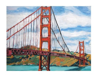 Golden Gate Bridge San Francisco Painting  Fine Art Print 8x10  Cityscape Painting by Gwen Meyerson