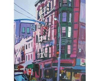 NYC Cityscape Painting New York City  Cityscape City Painting Fine Art Print 8x10 Lavender Corner purple mauve Painting by Gwen Meyerson