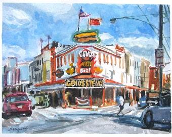 Philadelphia Geno's Philly Steaks Cheesesteak Framed Original Watercolor, Philadelphia Painting, red white blue Urban Fine Art Gwen Meyerson