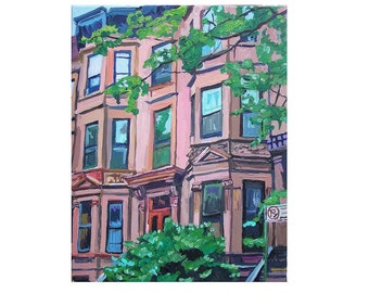 "Brooklyn Fine Art Print 8x10, ""Pink Brownstones"", NYC Cityscape New York City Painting Gwen Meyerson"