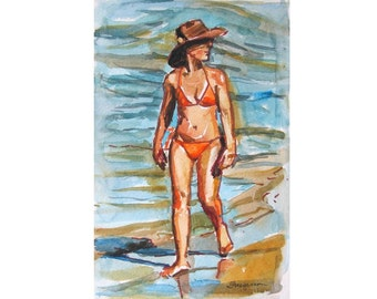 Beach Girl in Hat  Watercolor Painting Original watercolor Walking on the Beach by Gwen Meyerson