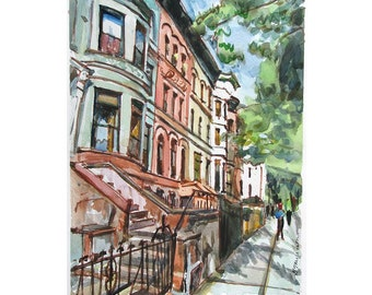 "Brooklyn Brownstone Fine Art watercolor Print, ""Prospect Heights Brownstones"" Park Slope Cityscape Watercolor Painting by Gwen Meyerson"