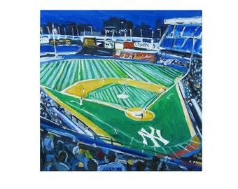 Baseball Yankee Stadium Yankees the Bronx NYC Art Wall Decor Baseball square Print New York Sports blue green Painting by Gwen Meyerson
