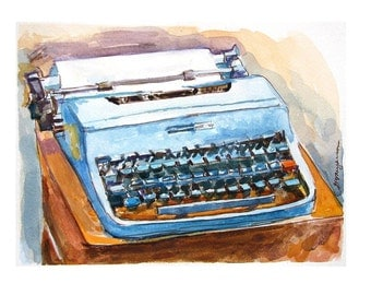 Vintage typewriter watercolor, Vintage Olivetti Typewriter Art Print Gift for Writer, Painting by Gwen Meyerson