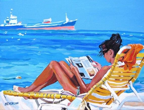 Beach Girl Art Print  8x10, Woman Beach Lounger, Sunbather Painting by Gwen Meyerson