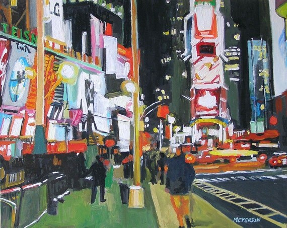 Broadway Times Square New York Art NYC Cityscape Art Night in City Art Print of Painting black neon Urban Painting by Gwen Meyerson