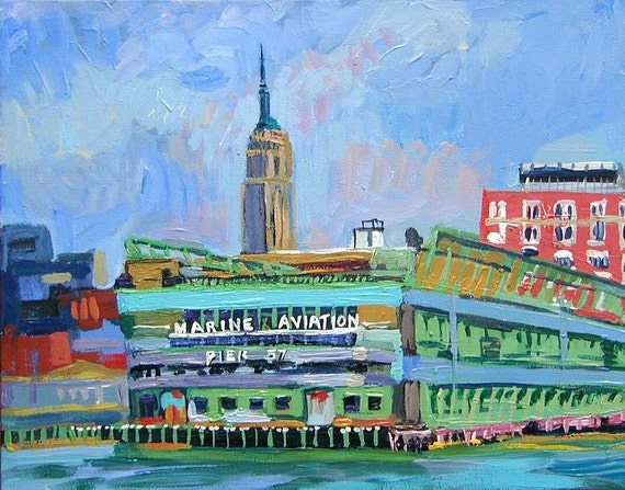 "Empire State Building NYC Painting Art  Print Cityscape Painting 8x10, ""Empire State From the Pier"" City Painting by Gwen Meyerson"