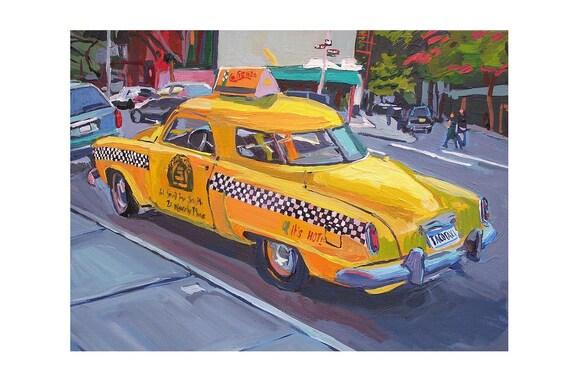 "Vintage Cab Caliente Cab Company New York Art NYC Art Fine Art Print 8x10, ""Yellow Studebaker Taco Taxi"" New York City Gwen Meyerson"