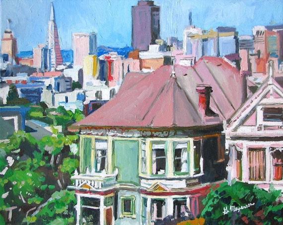 San Francisco Skyline Painting, Victorian house, Painted Ladies, Cityscape 8x10, TransAm Pyramid , Urban mint green pink Gwen Meyerson