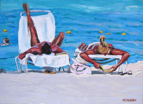 Beach Art Couple on the Beach Fine Art Print 8x10, Sunbathers Tanning, Sunning, Painting by Gwen Meyerson
