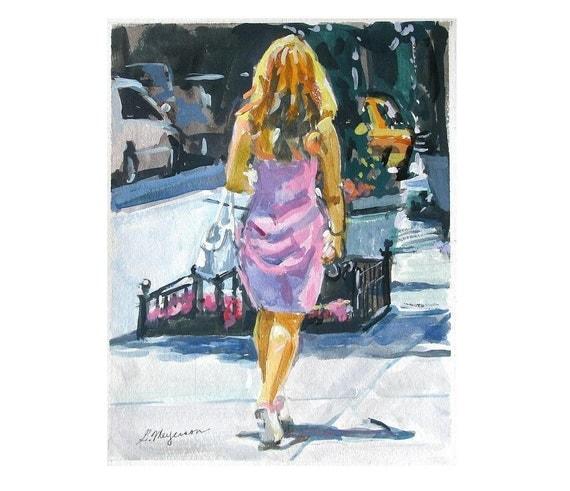City Girl In Pink Dress Watercolor, NYC Figurative Art Print 8x10 NYC Urban Fine Art Gwen Meyerson