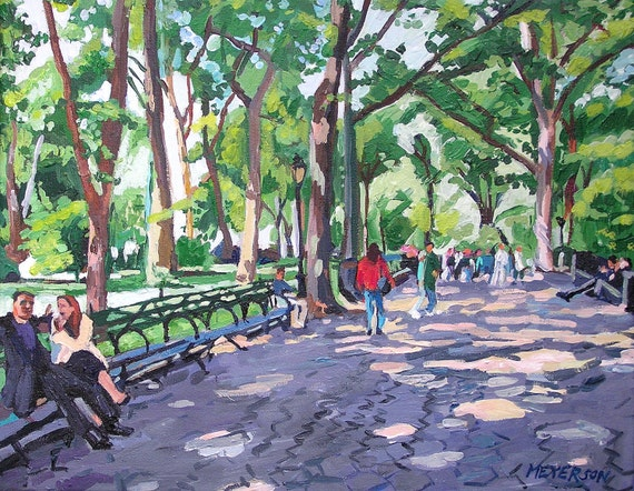 Central Park NYC Art Print 8x10, Trees, Benches, green purple New York Cityscape Painting by Gwen Meyerson