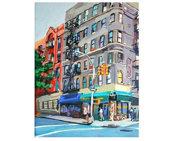 "New York Buildings Cityscape Art NYC Art Wall Decor Urban Print 8x10, ""Corner Bodega"" New York City Cityscape  Painting by Gwen Meyerson"