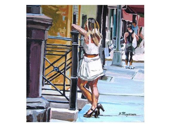 Girl in Street Figurative Painting, New York City Art. Street Scene Girl In White Dress Summer Fine Art Print Urban Painting Gwen Meyerson