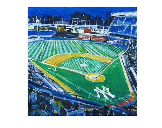 Baseball Yankee Stadium Yankees the Bronx NYC Art Wall Decor Baseball square Print New York Sports blue green Painting by Gwen Meyerson