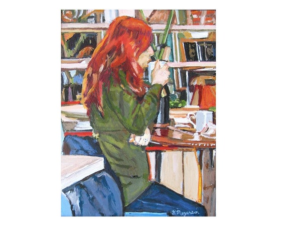 Coffee Art| Redhead in Coffee Shop 8X10 Art Print Figurative red Interior painting by Gwen Meyerson