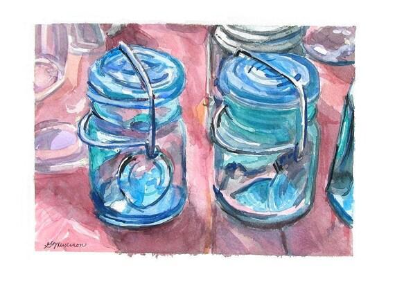 "Ball Mason Jars Watercolor Print, ""Two Vintage Mason Jars"" blue rose pink aqua pastel Painting by Gwen Meyerson"