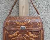 RESERVED LISTING--Vintage Western Hand-tooled Leather Handbag Purse