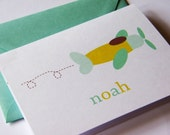 Personalized Folded Notecard with plane