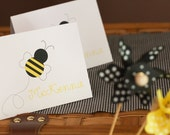 Bumble Bee Personalized Folded Notecards for girl