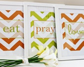 Eat Pray Love Prints - set of three - chevron pattern