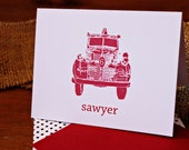Personalized Folded Notecard with firetruck