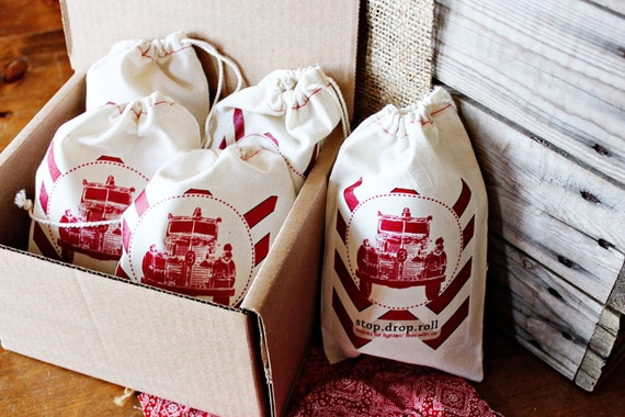 Reserved Listing for Molly - NEW Personalized Firetruck Gift/Favor Bags- includes 8 bags
