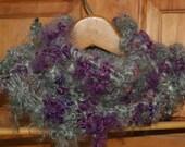 Cowl - Kid Mohair - Purple and Gray - Hand Spun Art Yarn - HandKnit