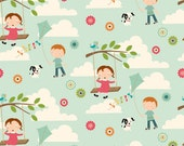 Fly a Kite Fabric Aqua with Kids, Dogs, Clouds and More from Riley Blake Designs 1 Yard New
