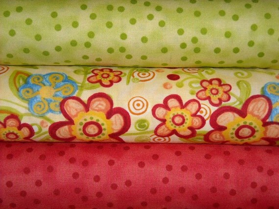 Save on 3 Yard Fabric Bundle Happy Kiwi Dots, Red Dots and Yellow Floral Polka Dot Garden
