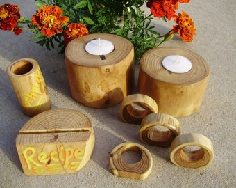 UniQue handcrafted Maple table setting accessories repurposed from a maple log.