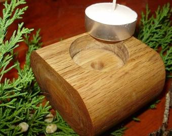 Solid Oak tea light holder