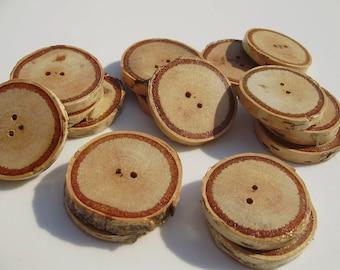 Birch wood buttons - 16 pc. set