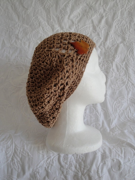 Natural Woman Organic Cotton Beret with Leaf Pin