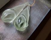 SALE WAS 52.00 Fancy Carved Prasiolite Drops - Pair, 28x10mm