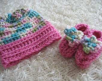 Spring Fling Baby Hat and Bootie Set