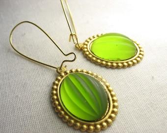 Green glass earrings ... reflective matte cab earrings with kidney earwires ... juicy green apple