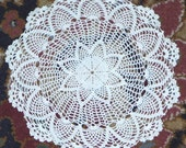 White Delicate Crocheted Doily